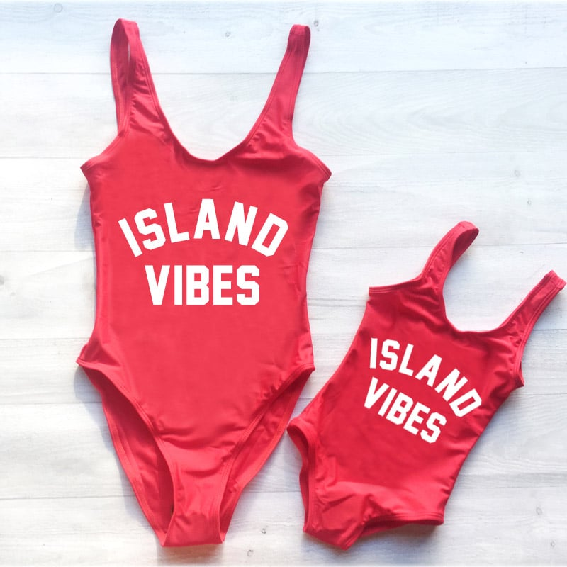 Mom-Baby-Swimwear-Women-One-Piece-Swimsuit-ISLAND-VIBES-Letter-Print-Monokini-Sexy-Bodysuit-Kids-Beach